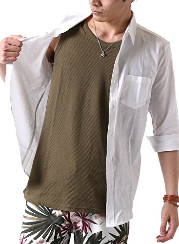 (アーケード) ARCADE メンズ 綿麻リネン ストレッチ オックス 七分袖シャツ 綿麻シャツ カジュアルシャツ L オフホワイト