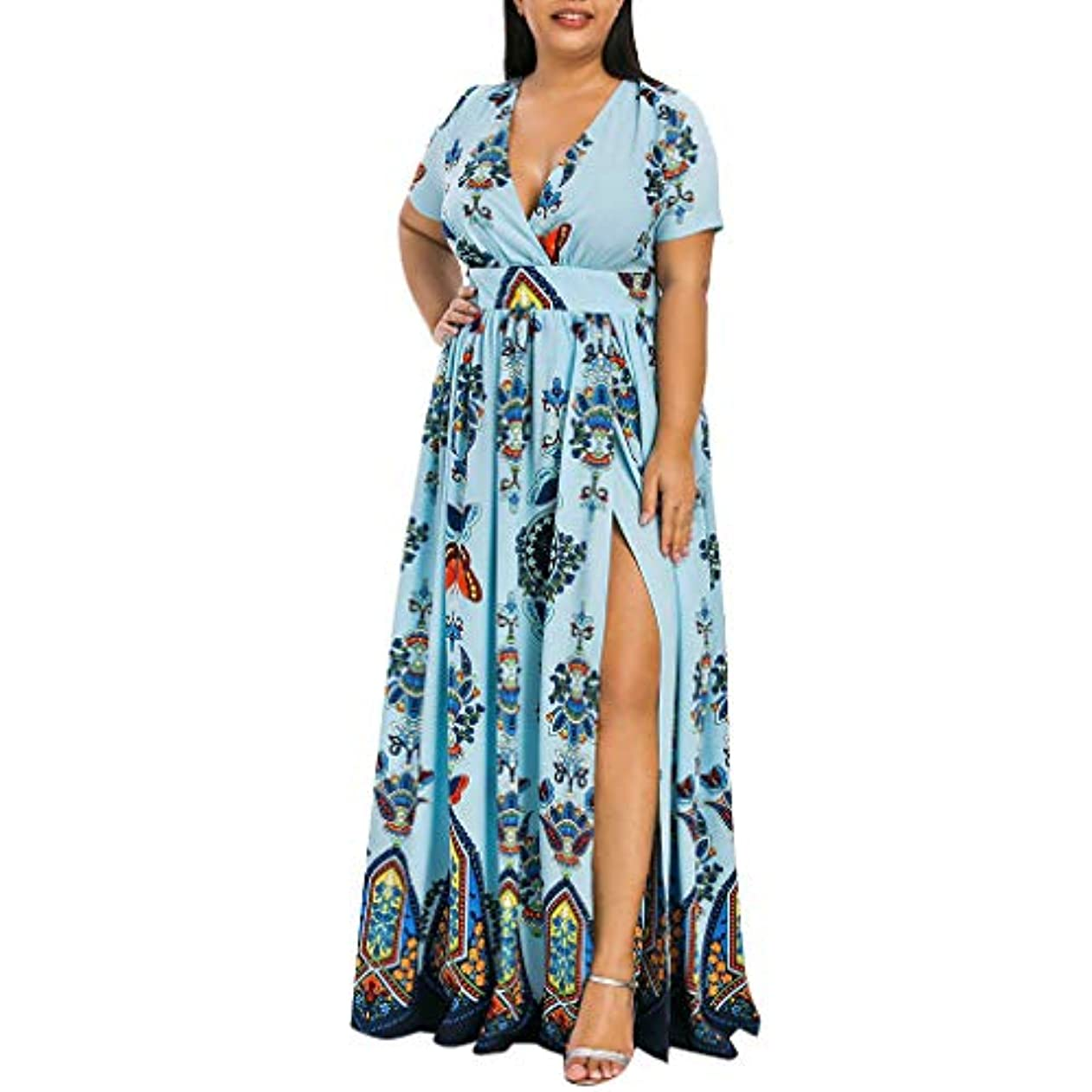 役職メンダシティランタンSakuraBest Women Butterfly Printed V-Neck Short Sleeve High Split Long Dress Plus Size
