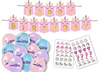 Unicorn Party Supplies for Girls - Happy Birthday Banner, Balloons and Temporary Unicorn Tattoos for Party Favors - 61 Piece Themed Kit [並行輸入品]