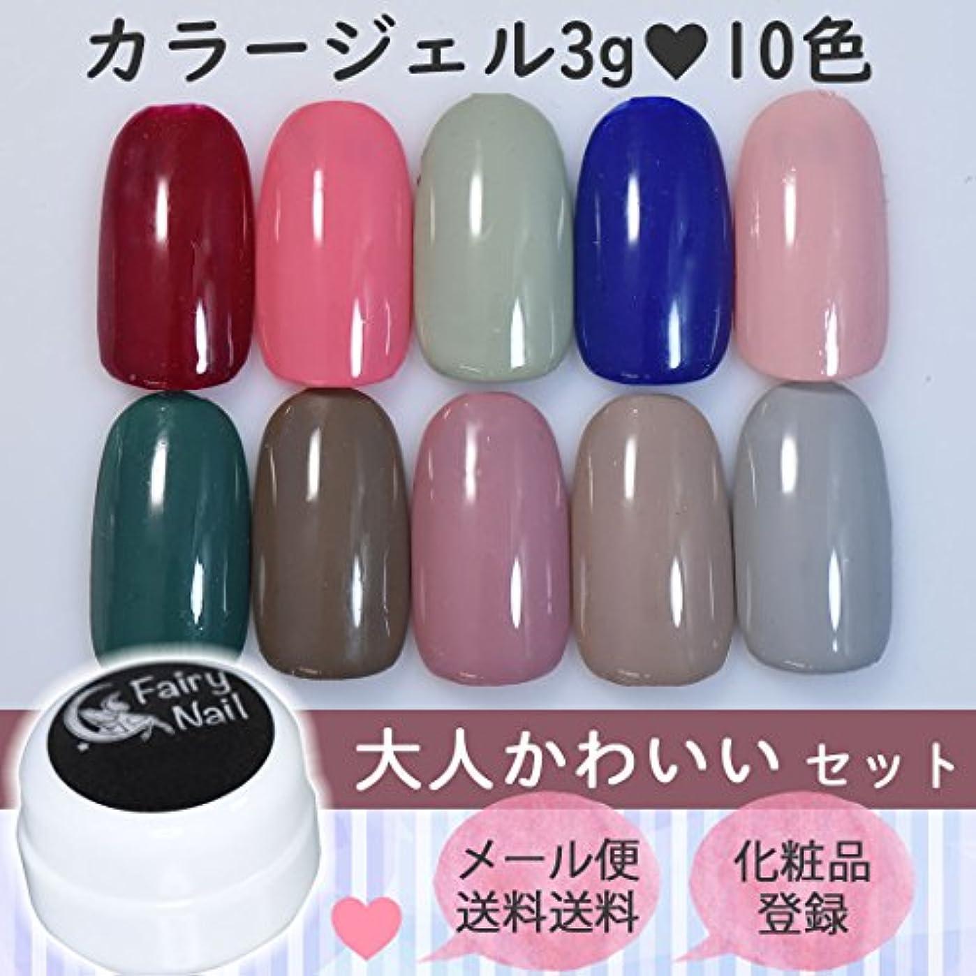 鮫母音株式会社フェアリーネイル カラージェル 3g 10色セット - 大人かわいい -