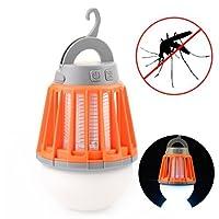 蚊取り器 蚊ランプ、Eupoundo 2-in-1 LED UV光源吸引式捕虫器、キャンプランプ、IPX6防水レベル、2000mAh USB充電式電池、3段階調光モード、引き込み式フック、取り外し可能なランプシェード、静かな無害(純粋な物理的蚊キラー)完璧な蚊ランプ& 屋内屋外のホームベビールーム旅行キャンプ用 (オレンジ)
