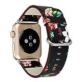 Apple Watchバンド JPC iWatchベルト アップルウォッチバンド Apple Watch Series 3/2/1 ベルト 本革レサー 交換用ベルト ステンレス留め金製 綺麗な花