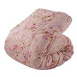 東京西川 羽毛布団 シングル ホワイトダックダウン85% 日本製 抗菌防臭 花柄 ピンク KA06002058A1