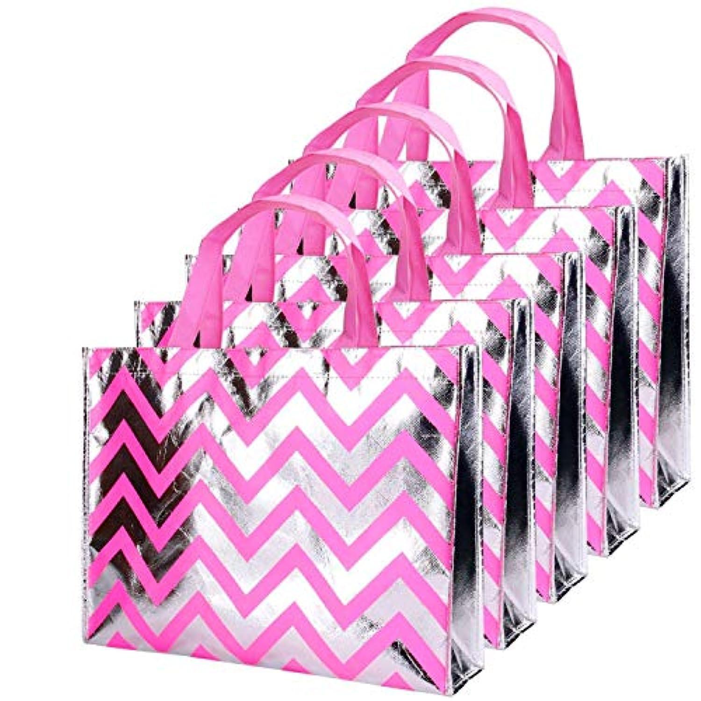 Rumcent Bling Bling Shinyストライプピンク不織布トートバッグ、スタイリッシュなEco再利用可能なショッピングバッグ、ギフトバッグ、Goodiesバッグ、食料品バッグ、パーティーバッグ、10のセット