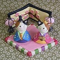 「ねこのおひなさま」ひな祭り人形(三毛猫のお雛様と内裏様)~桃の節句に