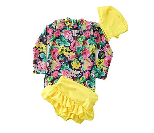 【Peach Kids】水着 女の子 花柄 ラッシュガード 黄色 ピンク セパレート スカート 海水浴 プール 紫外線 ...