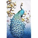 (Blue) - Faraway Peacock 5D DIY Crystal Diamond Rhinestone Painting Pasted Paint by Number Kits Animal Full Diamond Mosaic 40