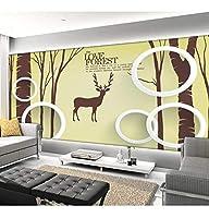 Wuyyii カスタム3D写真の壁紙の部屋の壁画3D鹿の木の森の絵写真のリビングルームのソファテレビの背景不織布の壁紙の壁画