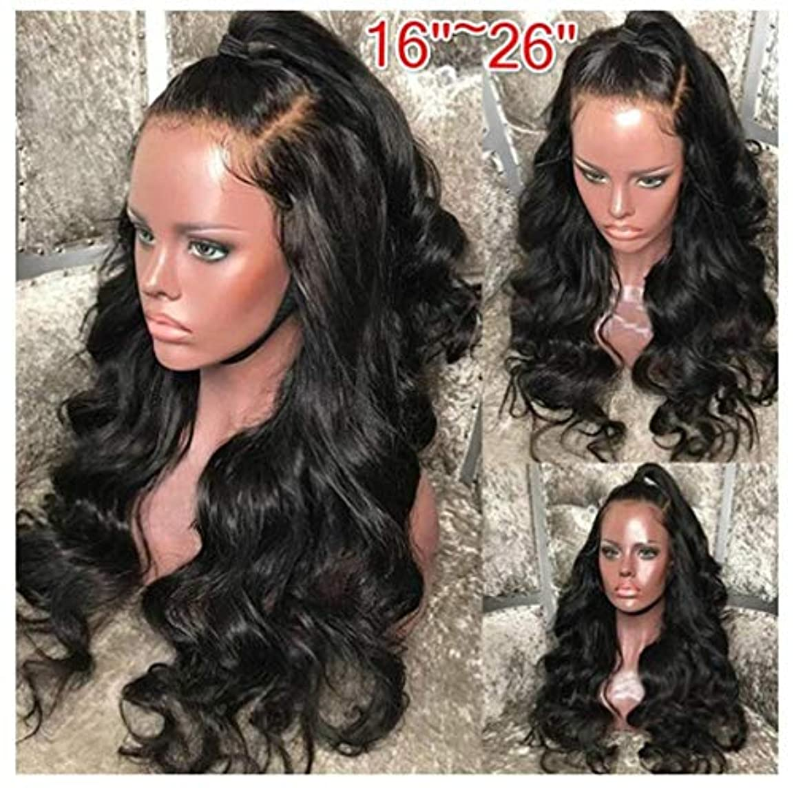 消える海軍拘束女性かつらヘアレースフロントグルーレスショートボブ人工毛ウィッグ波状わずかにベビーヘア150%密度
