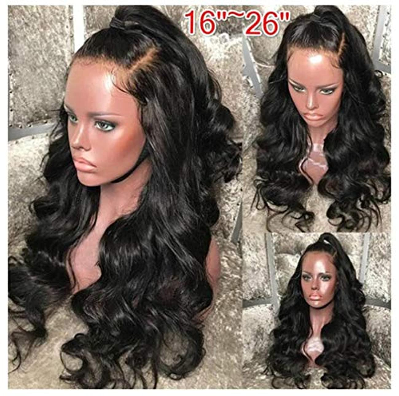 しっかり機密拍手女性かつらヘアレースフロントグルーレスショートボブ人工毛ウィッグ波状わずかにベビーヘア150%密度