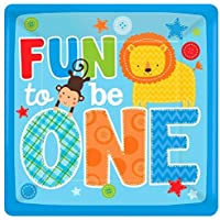 Amscan 591423 One Wild Boy Birthday Square Dinner Multi Colored Paper 10 x 10 16-Piece Childrens Party Plates (192) [並行輸入品]