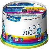 三菱化学メディア Verbatim CD-R(Data) 1回記録用 700MB 48倍速 50枚スピンドルケース インクジェットプリンタ対応(ホワイト) ワイド印刷エリア対応 SR80FP50V1