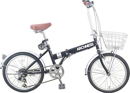 折りたたみ自転車 20インチ シマノ6段変速ギア ワイヤー錠・ライト・カゴ付 ARCH-206B (ブラック)