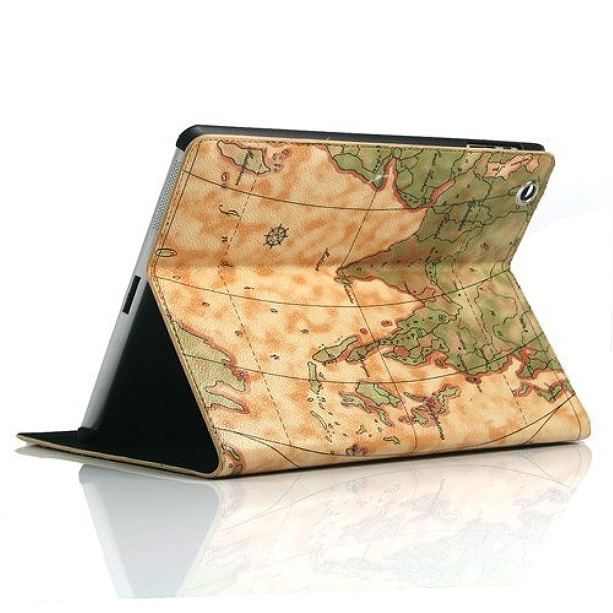 不公平拡声器散髪地図柄 PUレザーケース ワールドマップケース 全3色  オートスリープ機能付 ipad air2/air/ipad4/3/2 (iPad2/3/4, ★ライトブラウン)