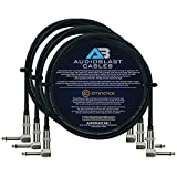Audioblast - 3 Units - 2.5 Foot - HQ-1 - Ultra Flexible - Dual Shielded (100%) - Guitar Instrument Effects Pedal Patch Cable w/Eminence Right-Angled ¼ inch (6.35mm) TS Plugs & Double Staggered Boots