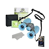 CampOutDV Kids Binoculars Set 8x21 High Resolution - Explore Nature - For Boys And Girls - Best For Bird Watching, Outdoor Exploration And Learning - With Adjustable Breakaway Neck Strap