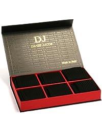 ダニエルジェイコブ(Daniel Jacob) 上質 紳士用 ビジネスソックス ブラック6足セット  ふくらはぎ丈 ストライプ柄 イタリア製 エジプト綿100%  DXギフトボックス入り