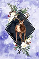 Floral Deer Journal: Lovely Deer Flower Frame  Watercolor Cover Design - Blank Lined  6' x 9' Notebook 120 pages