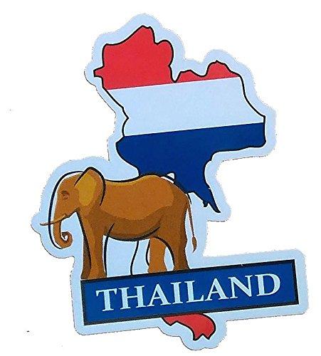 ステッカー タイ王国 THAILAND ナショナルフラッグ&マップシリーズ 国旗地図 防水紙シール スーツケース・タブレットPC・スケボー・マイカーのドレスアップ・カスタマイズに