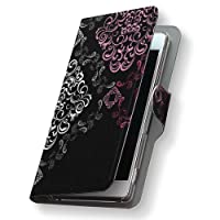 Disney Mobile DM-01J ケース カバー 手帳 スマコレ 手帳型 レザー 手帳タイプ 革 DM01J スマホケース スマホカバー AQUOS クール 007254 Sharp シャープ docomo ドコモ レース dm01j-007254-nb