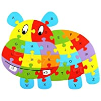Hippo educational-funny-wooden-blocks-animals-kid-children-toy-alphabet-puzzle-jigsaw