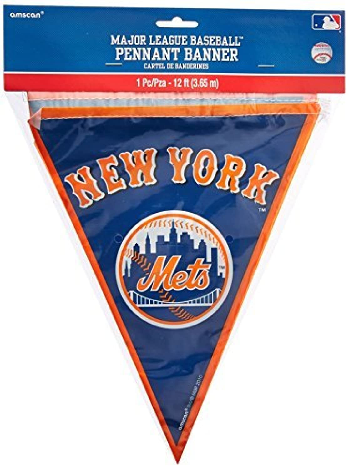 Amscan Major League Baseball Licensed New York Mets Pennant Banner Party Decoration, Plastic, 12' Childrens (Piece) [並行輸入品]