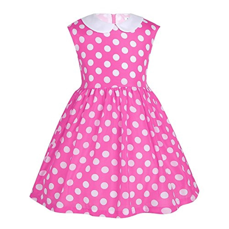 (フィーショー) FEESHOW 子供ドレス Aライン ワンピースドレス 入学式ワンピース 子ども フォーマルドレス フラワーガール 子供服 ドット柄