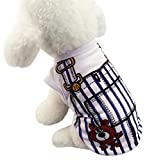 S-BBG ドッグウェア 犬服 春夏 綿 ベスト サロペット風 ペット Tシャツ お散歩 小型犬 中型犬 ペット服 可愛い (S, ネイビー 01)