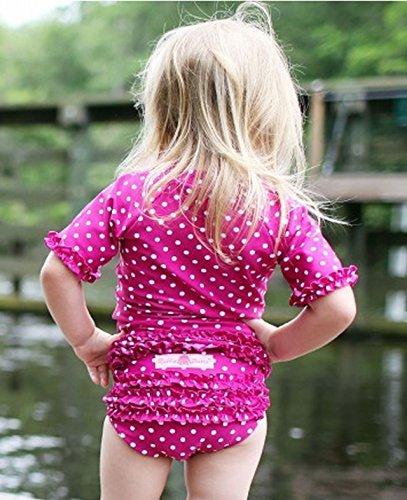 RuffleButts ラッフルバッツ UPF50+ ラッシュガード Polka Dot Ruffled Rash Guard Bikini (3T(95), Berr...