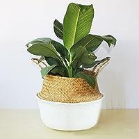 Cibeat 自然織物バスケット 収納 洗濯 ピクニック 植物 ポットカバー ビーチバッグ ホワイト wuyang*XJ*180814 * 08