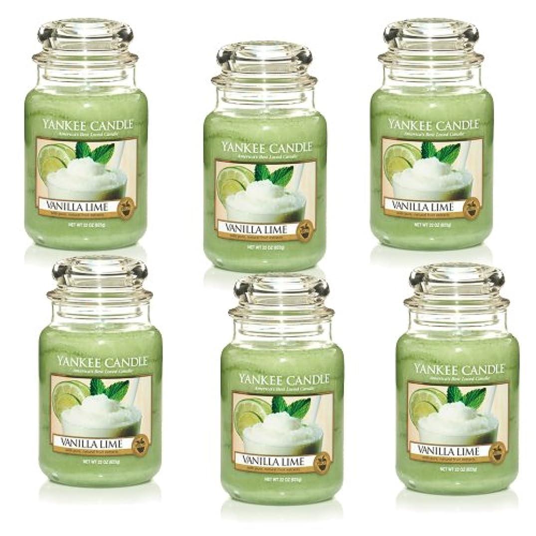 チーフ国民ボールYankee CandleバニラライムLarge Jar 22oz Candle Set of 6 1106730X6
