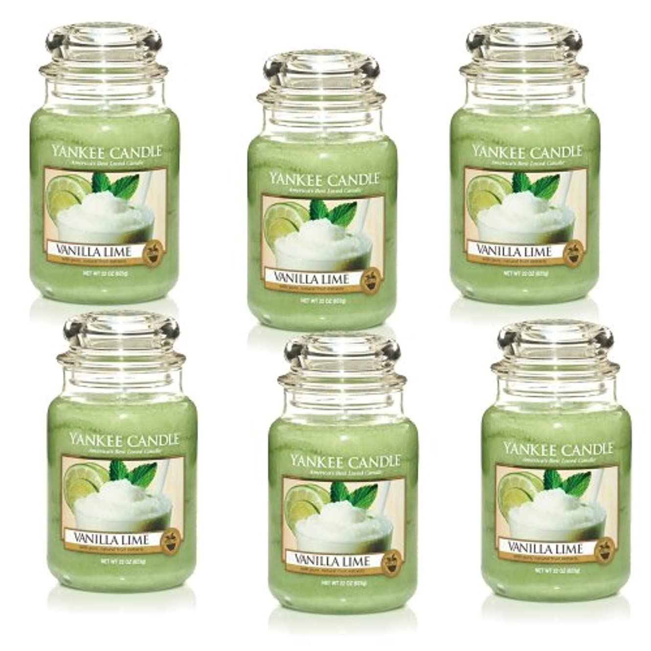 攻撃蓮煙Yankee CandleバニラライムLarge Jar 22oz Candle Set of 6 1106730X6