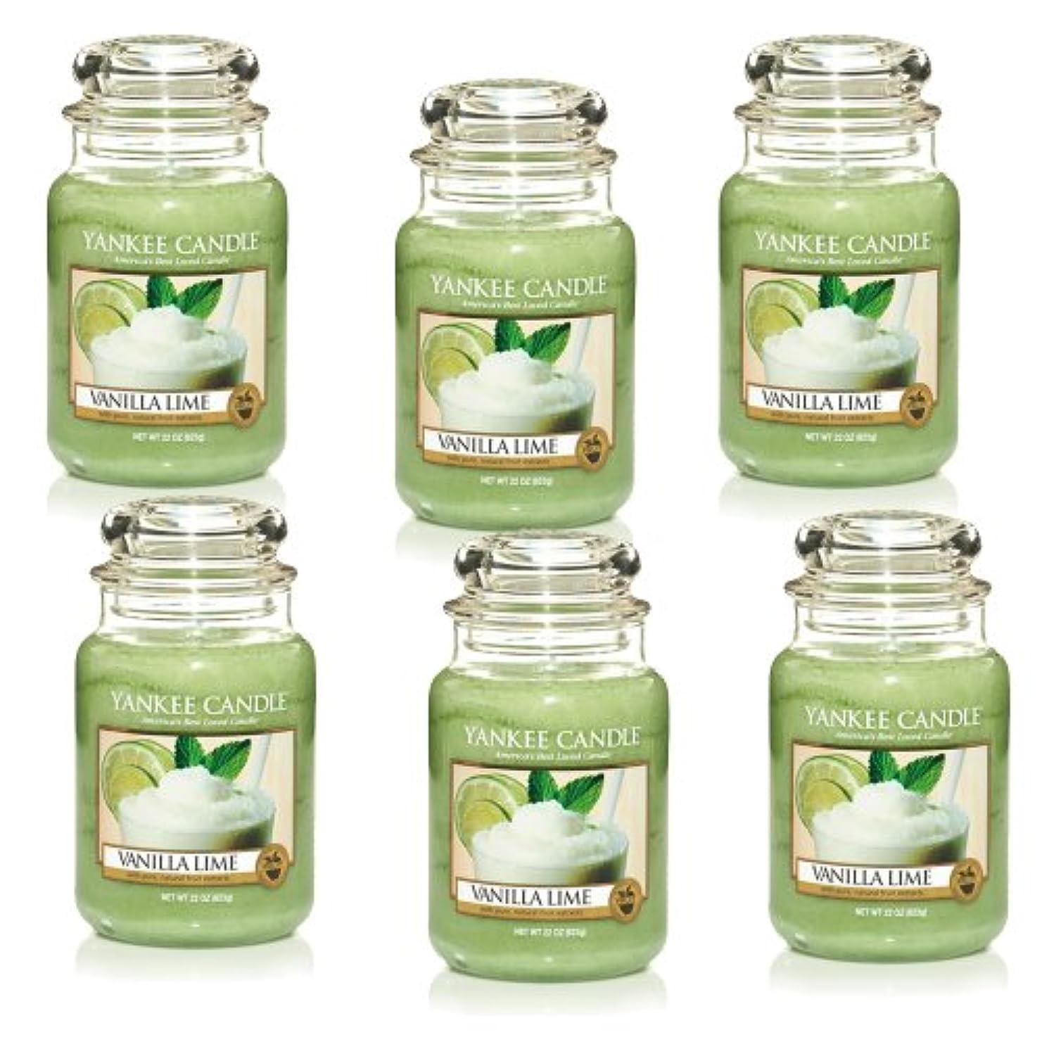 意味する懐変形Yankee CandleバニラライムLarge Jar 22oz Candle Set of 6 1106730X6