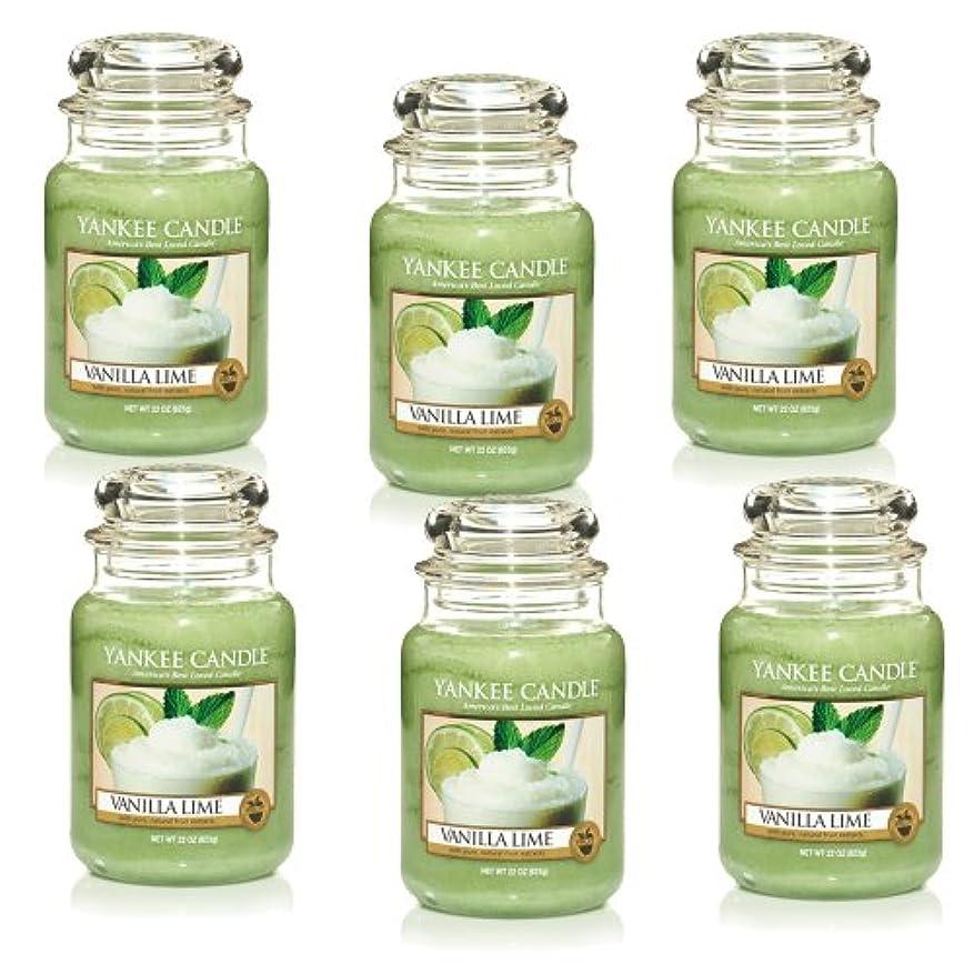 消化未満主張するYankee CandleバニラライムLarge Jar 22oz Candle Set of 6 1106730X6