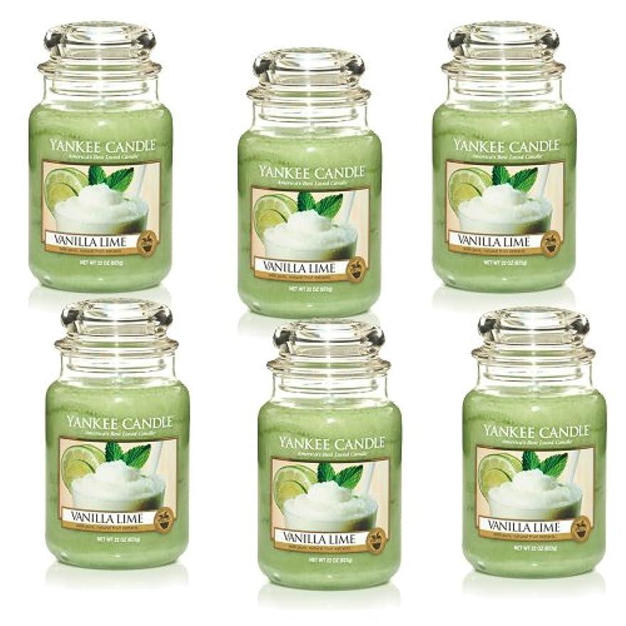 傑作カバー許されるYankee CandleバニラライムLarge Jar 22oz Candle Set of 6 1106730X6