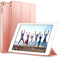 KYOKA iPad Air ケース 薄型 軽量 オートスリープ機能 PUレザー 三つ折タイプ スタンド機能 スマートカバー (iPad Air, ピンク)