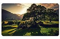 英国の自然の風景、木、太陽、緑、丘 パターンカスタムの マウスパッド 旅行 風景 景色 デスクマット 大 (60cmx35cm)