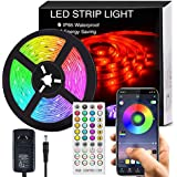 Bluetooth LED Strip Lights Music Sync, Waterproof 5m 5050 RGB 150 LEDs Light Strip with APP and Remote Control, Tape Light for Bedroom, Home and Kitchen