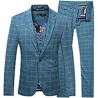 Cloudstyle Men's Suit Plaid Modern Fit 3-Piece Suit Center Vent Blazer Jacket Tux Vest & Trousers