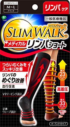 スリムウォーク メディカルリンパソックス ショートタイプ ブラック M~Lサイズ(SLIM WALK,medical lymph sh...