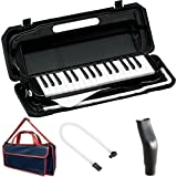 KC 鍵盤ハーモニカ (メロディーピアノ) ブラック P3001-32K/BK + 専用バッグ[Navy Blue] + 予備ホース + 予備吹き口 セット