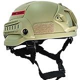 OneTigris アウトドア エアソフトヘルメット米軍風  MICH 2002多機能サバゲーヘルメット ロードバイク用 オートバイ用 作業用など マウントレール付き ABS製 かっこいいヘルメット オリジナル (ブラウン)
