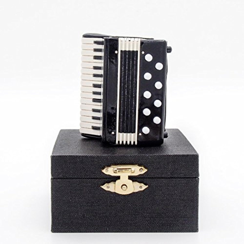 Odoria 1/12 ブラック アコーディオン 木製楽器 ミニチュア ドールハウス