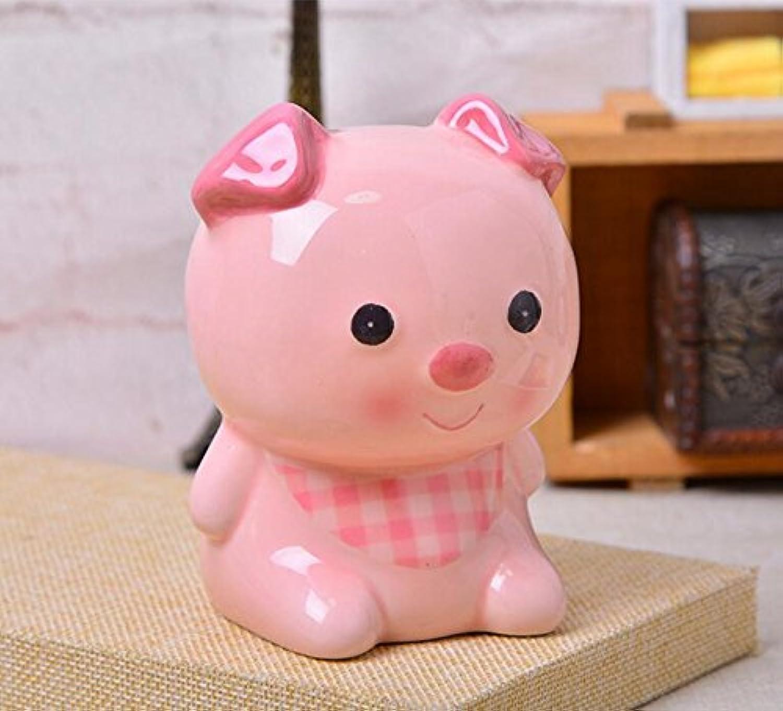 HuaQingPiJu-JP 動物モデリングピギーバンク手作りセラミックオーナメント子供の報酬(ピンクの豚)