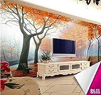 Bzbhart テレビの背景装飾画、壁用ステッカーカスタム絵画風景ツリーの壁紙リビングルームテレビの背景の壁紙3D立体大壁画寝室のソファテレビの壁-300cmx210cm