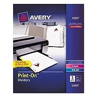 avery print onディバイダー 5 tab 3穴パンチ 8 1 2 x 11