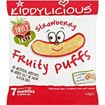 Kiddylicious Strawberry Fruity Puffs 7mth+ (10g) Kiddyliciousイチゴフルーティーパフの7Mth + ( 10グラム)