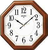セイコー クロック 掛け時計 電波 アナログ 八角型 木枠 茶 木地 KX389B SEIKO