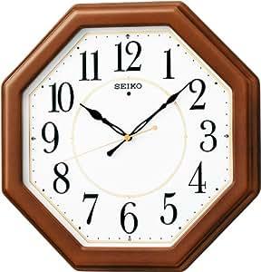 Amazon SEIKO CLOCK (セイコークロック) 掛け時計 電波 アナログ 八角型 木枠 茶木地 KX389B 置き時計・掛け時計 オンライン通販