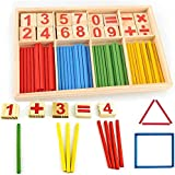 XINING Wooden Toy Digital Counting Number Cards and Counting 52 Rods Mathematics Learning